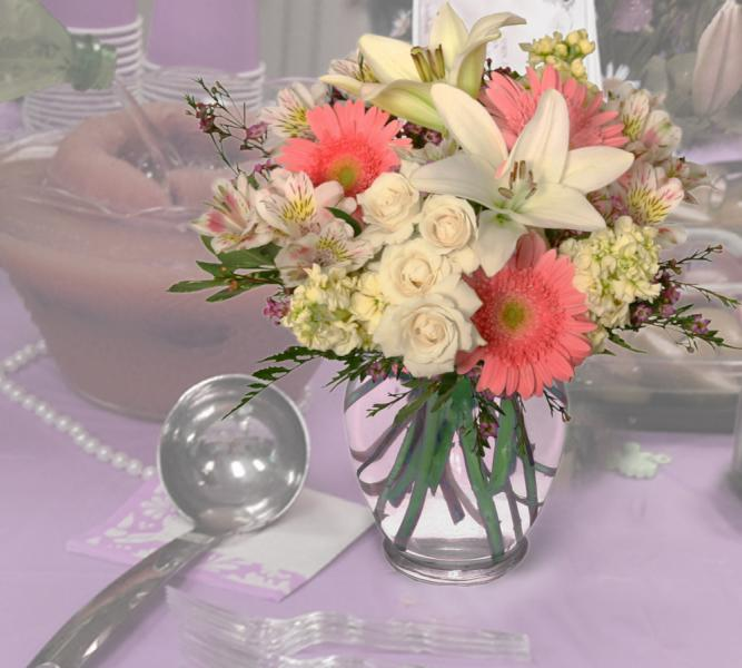 [Image: What better way to announce the birth of a new baby girl than with flowers? It's A Girl shower flowers add grace and elegance to your baby shower. ]